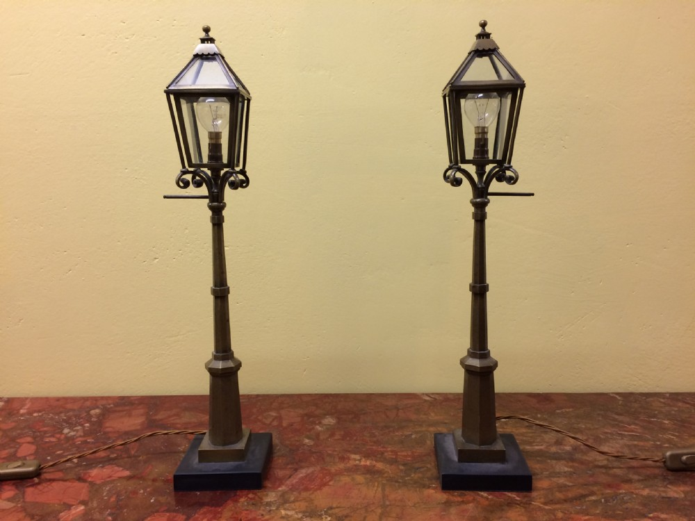 pair of late 19th c miniature brass street lamps