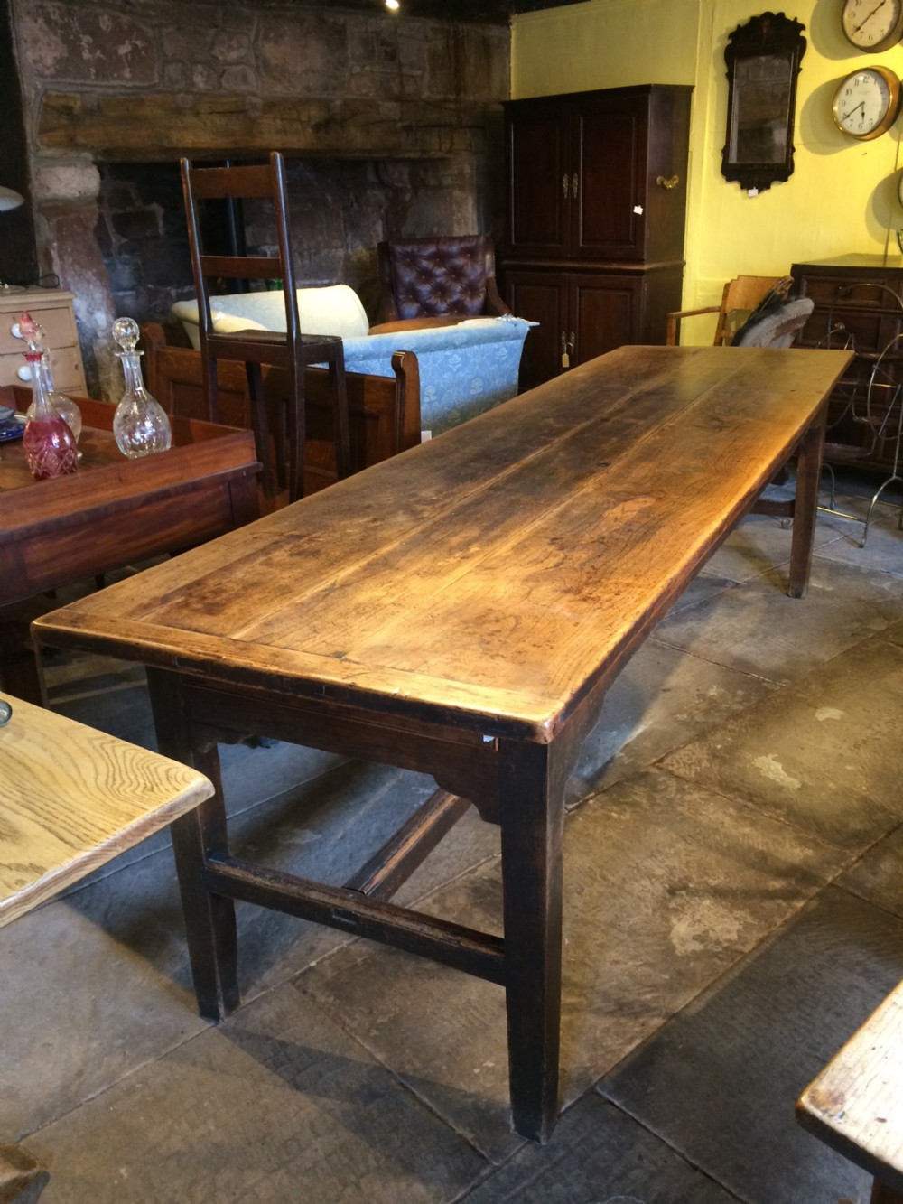 18th c elm top refectory table