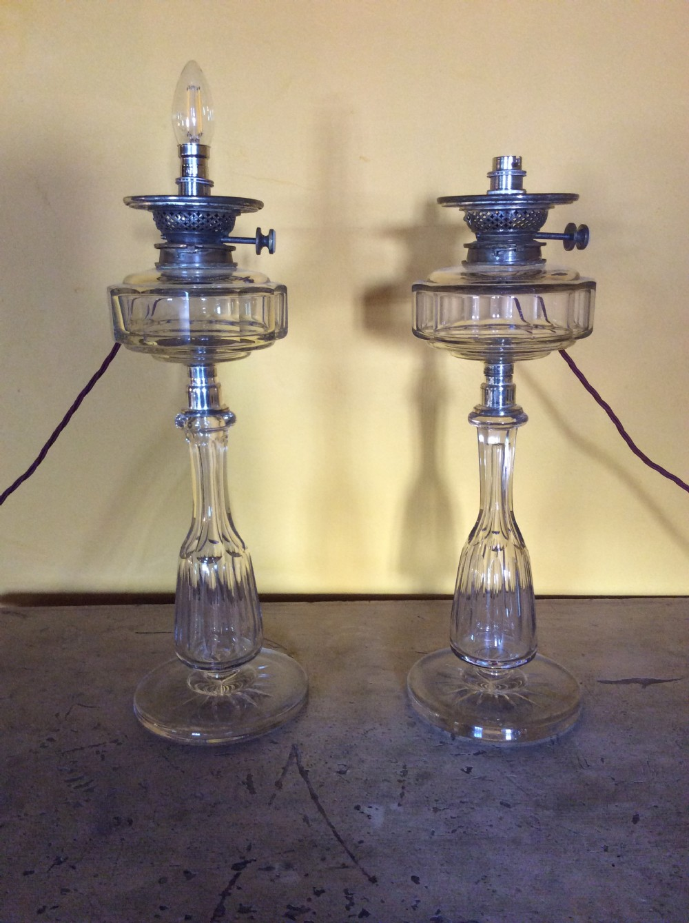 pair of 19th c cut glass table lamps