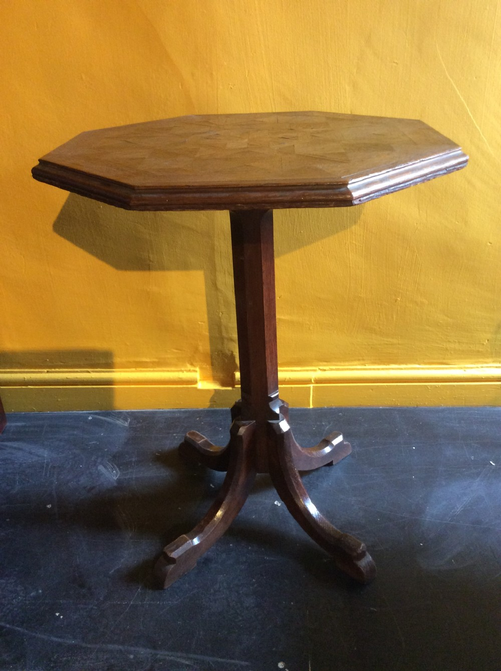 19th c oak parquetry top reformed gothic table