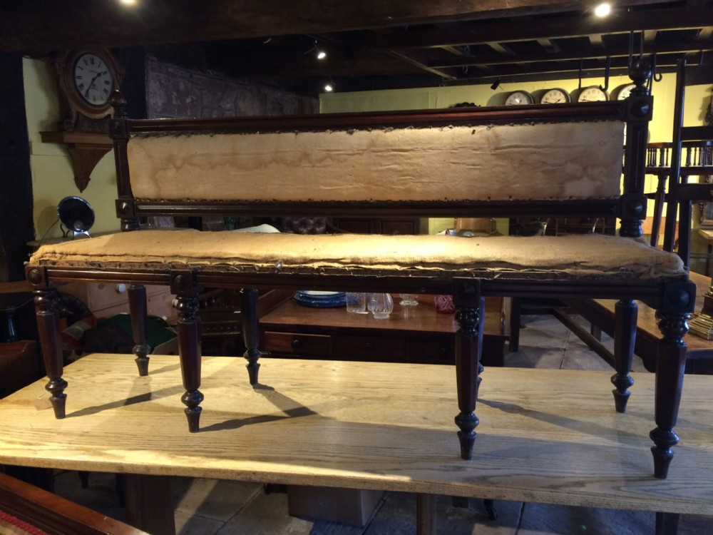 19th c mahogany hall bench