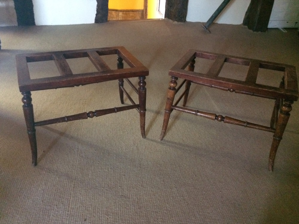 19th c pair of stained beech luggage racks