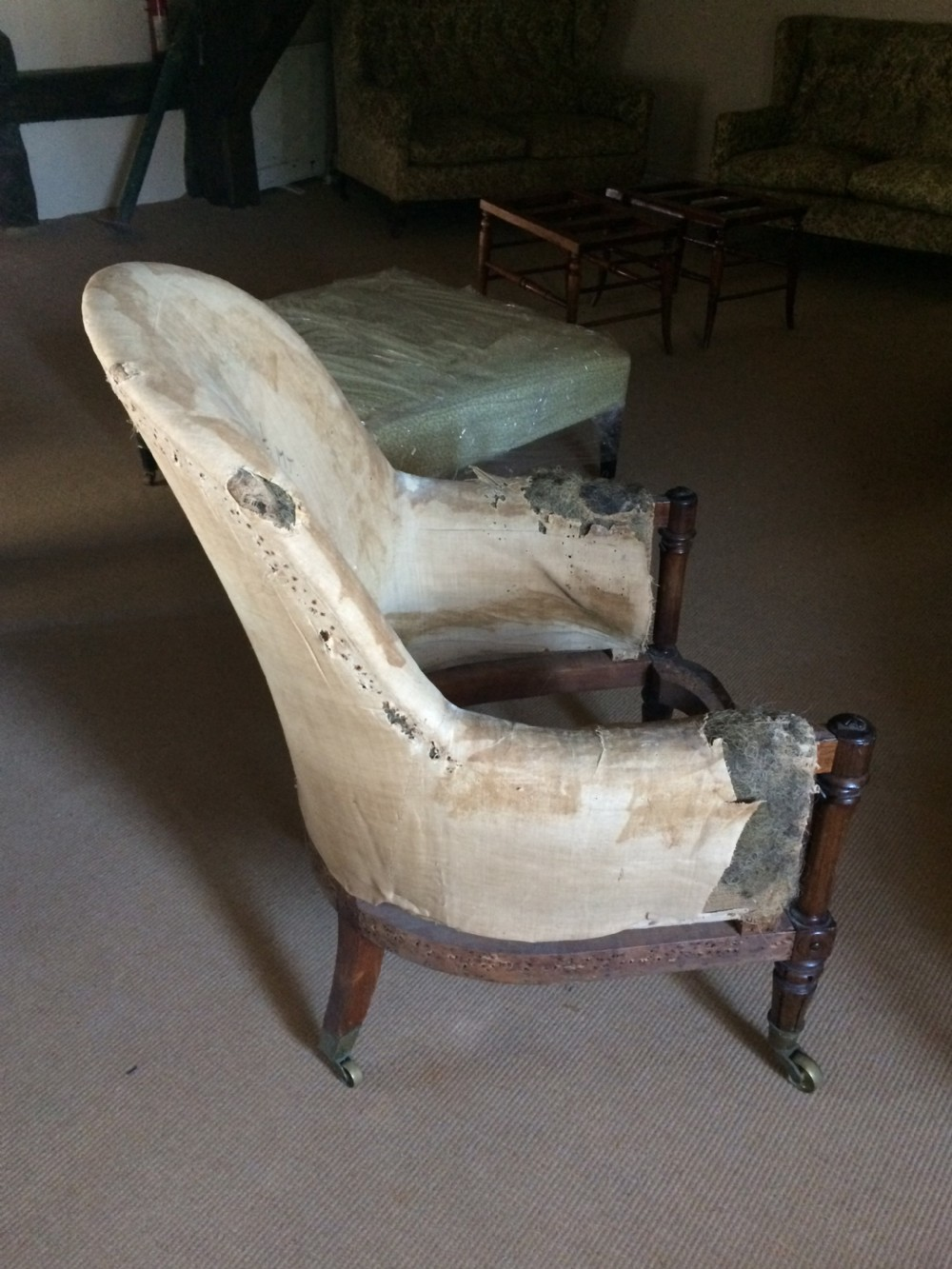 19th c rosewood library armchair for upholstery19th c rosewood library armchair