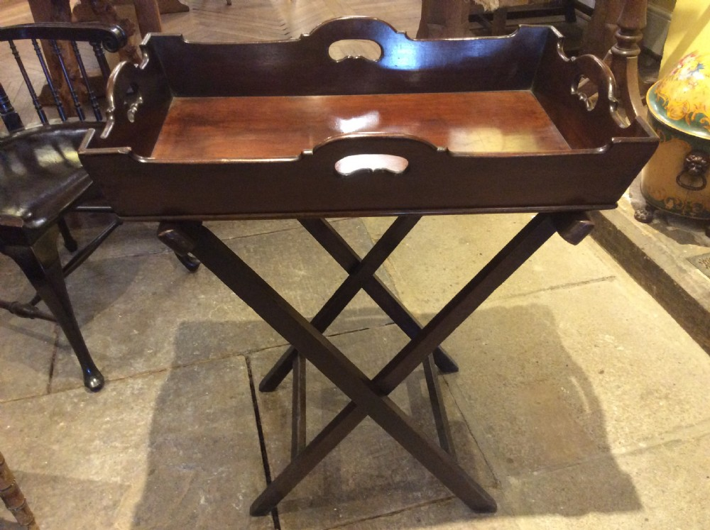 18th c mahogany butlers tray on stand