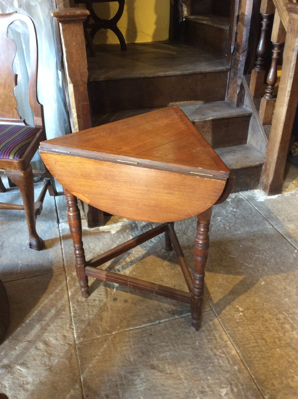 19th c small oak folding table