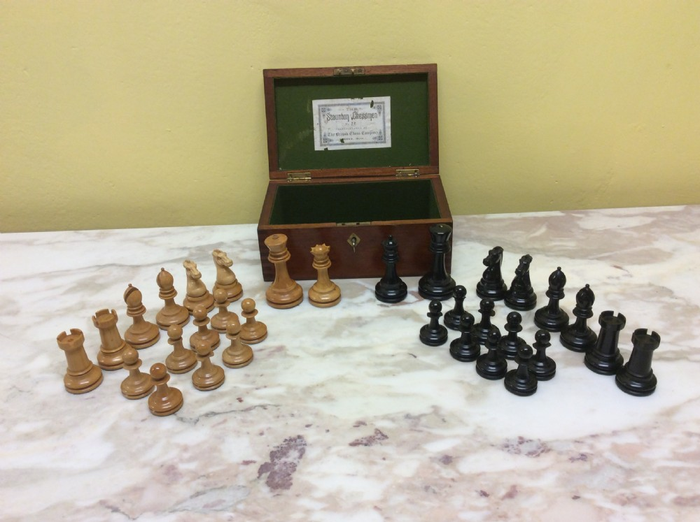 19th c boxed chess set made by the british chess company