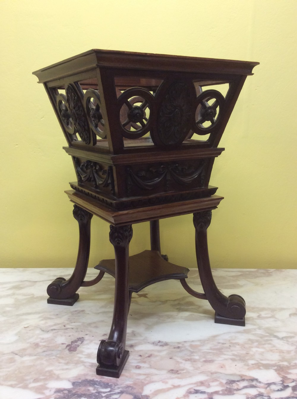 19th c mahogany carved wine cooler