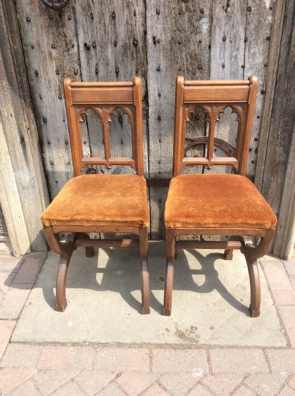 19thc pair of gothic revival oak small chairs