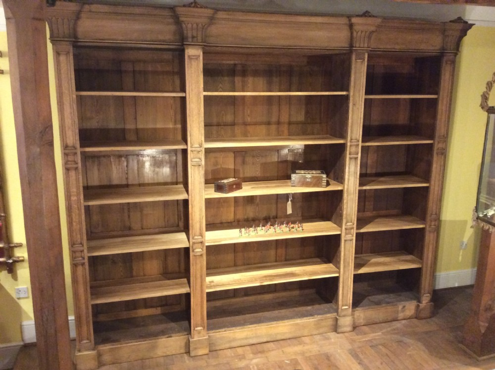 19thc english oak architectural open fronted 3 selectional bookcase