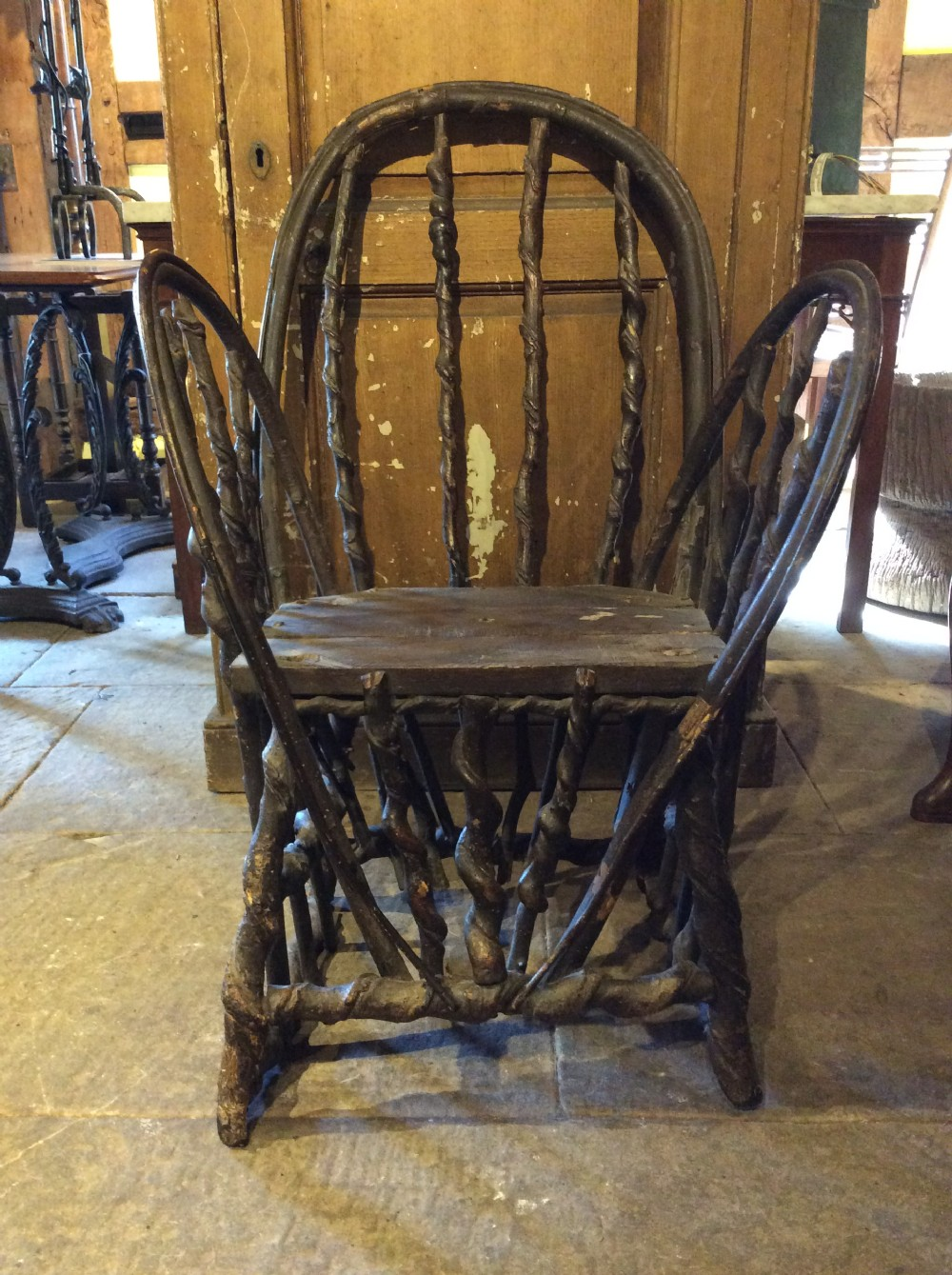 19thc primitive chair made of twisted hazelnut