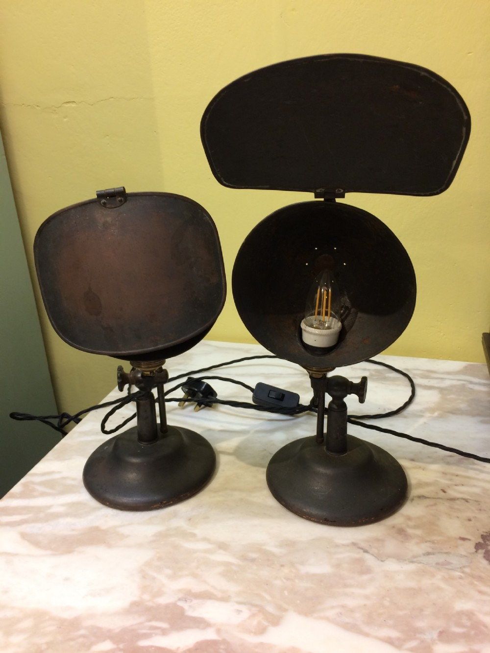 pair of early 20thc cast iron metal photography lampsrewired pat tested