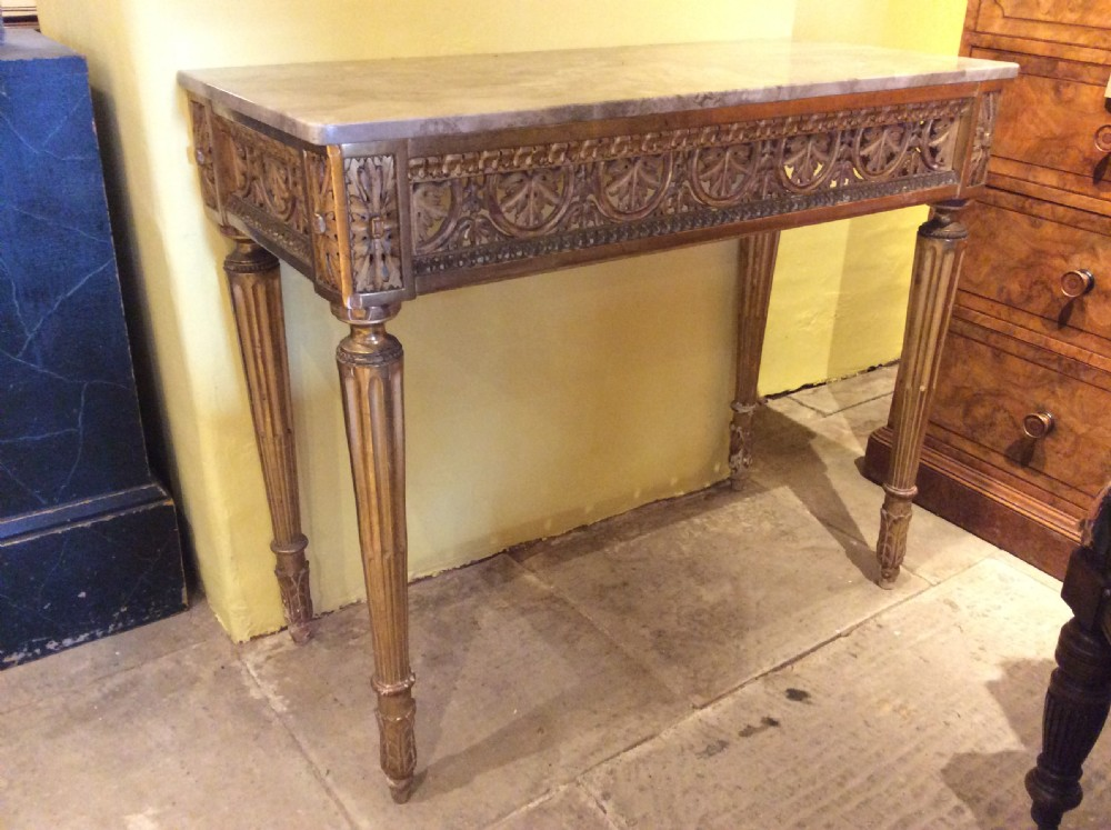 19thc console table with later marble top