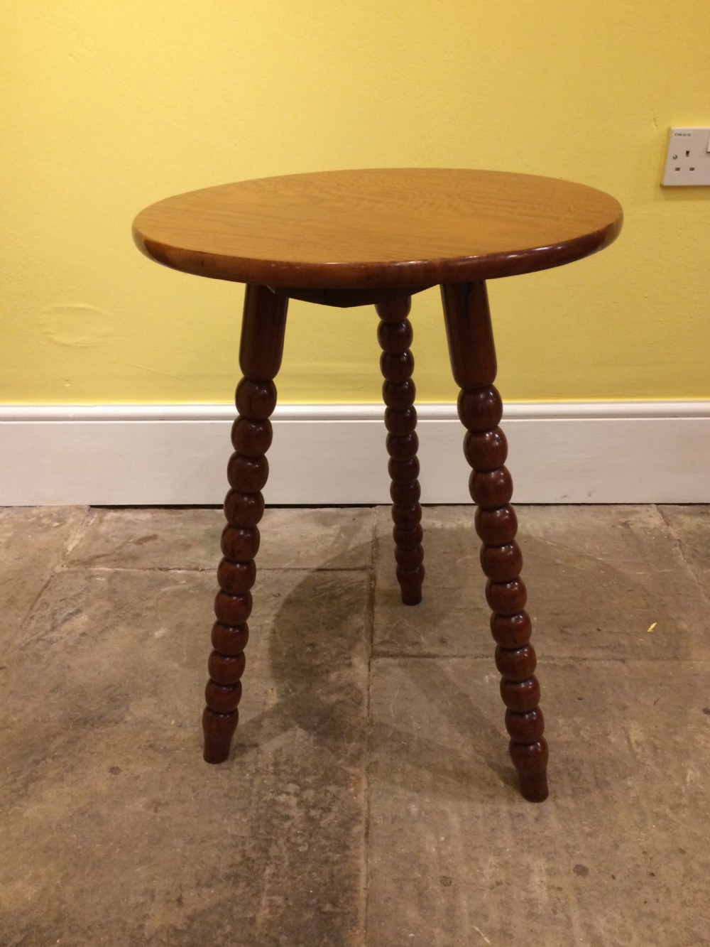 19thc satinwood top bobbin leg tripod table