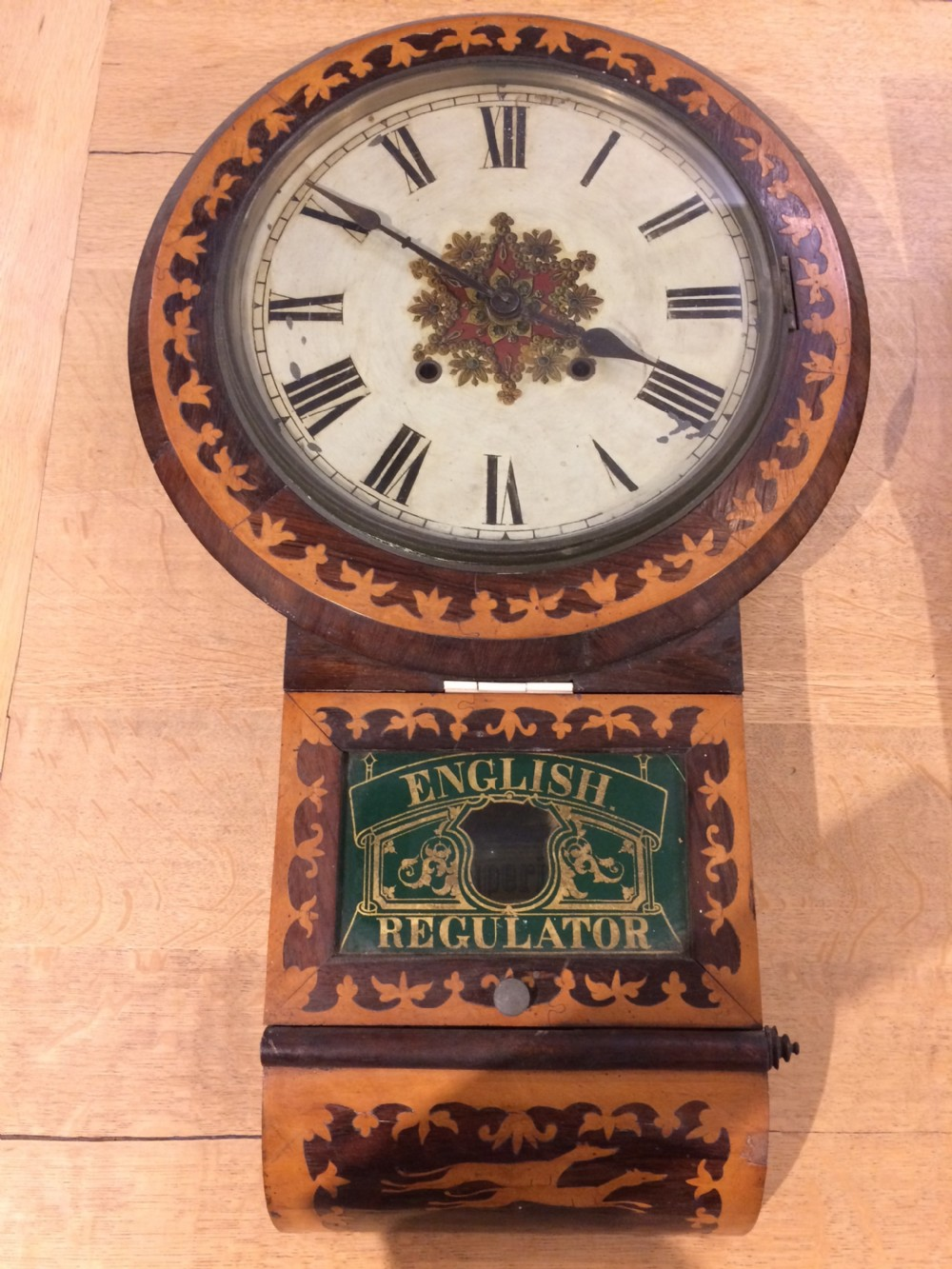 19thc rosewood bleached mahogany clock with inlay of whippetts