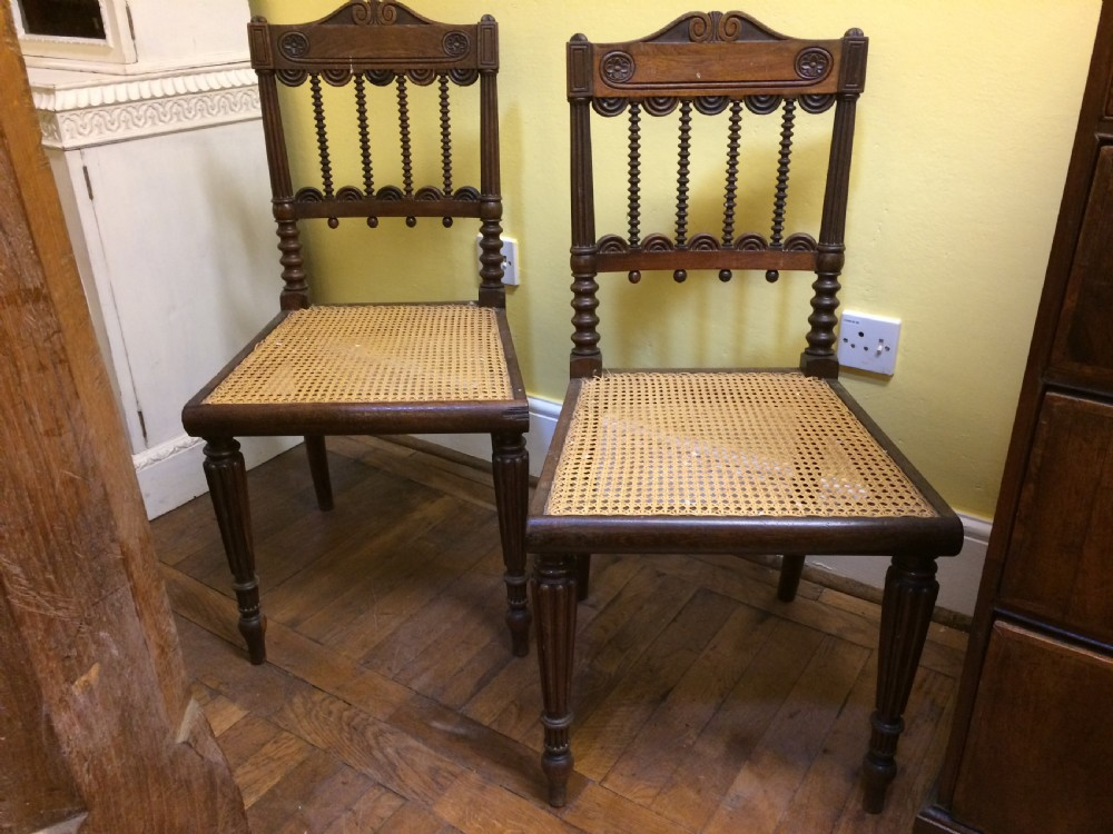19thc pair of indian rosewood caned side chairs