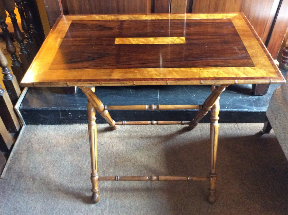 19thc coaching table in rosewood birds eye maple