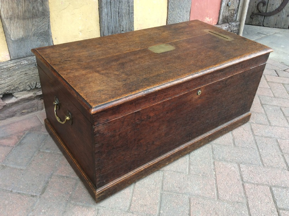 19thc oak box with brass handles posting slot fitted with a bramah lock