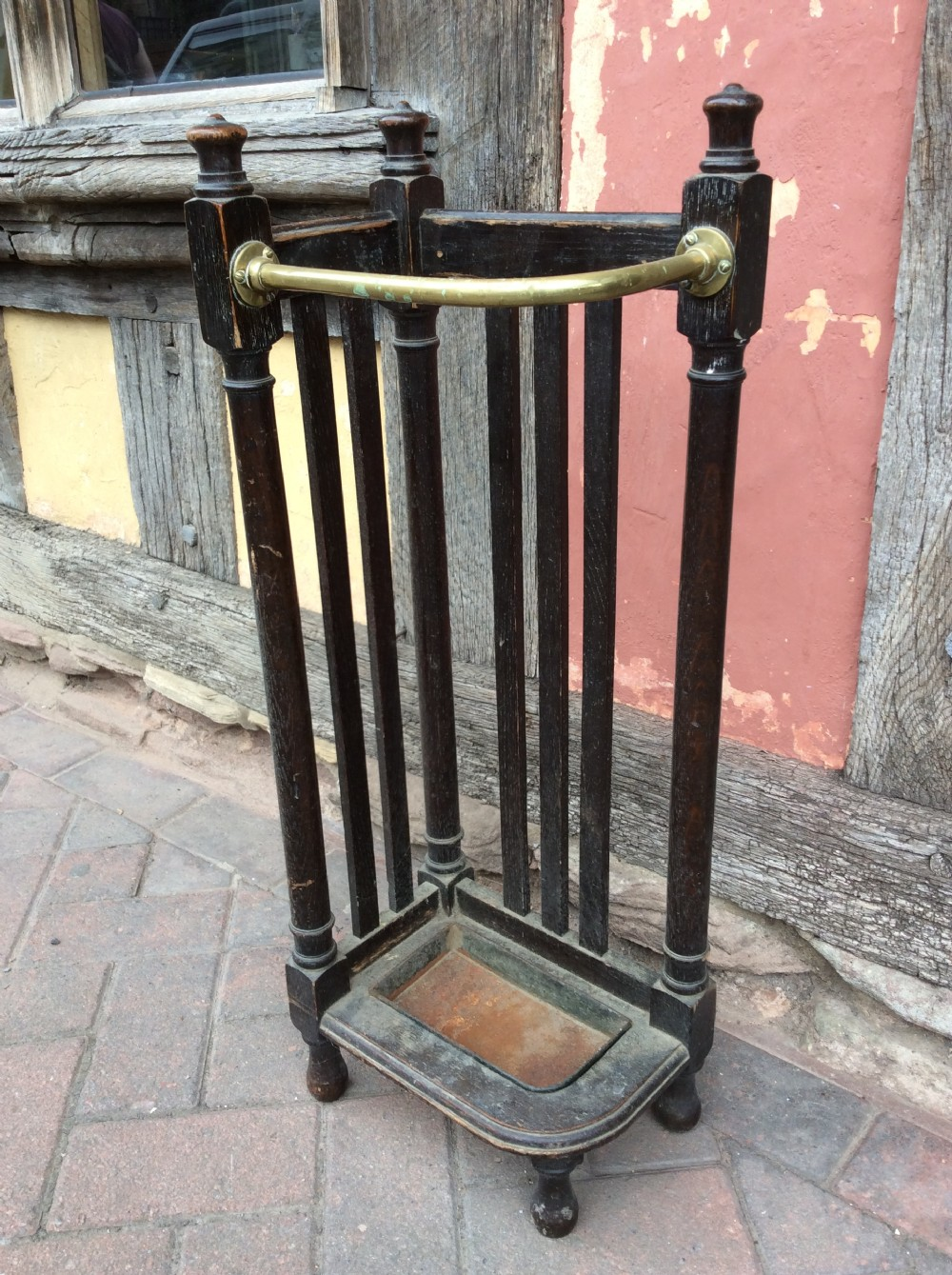 19thc oak and brass corner umbrella stand