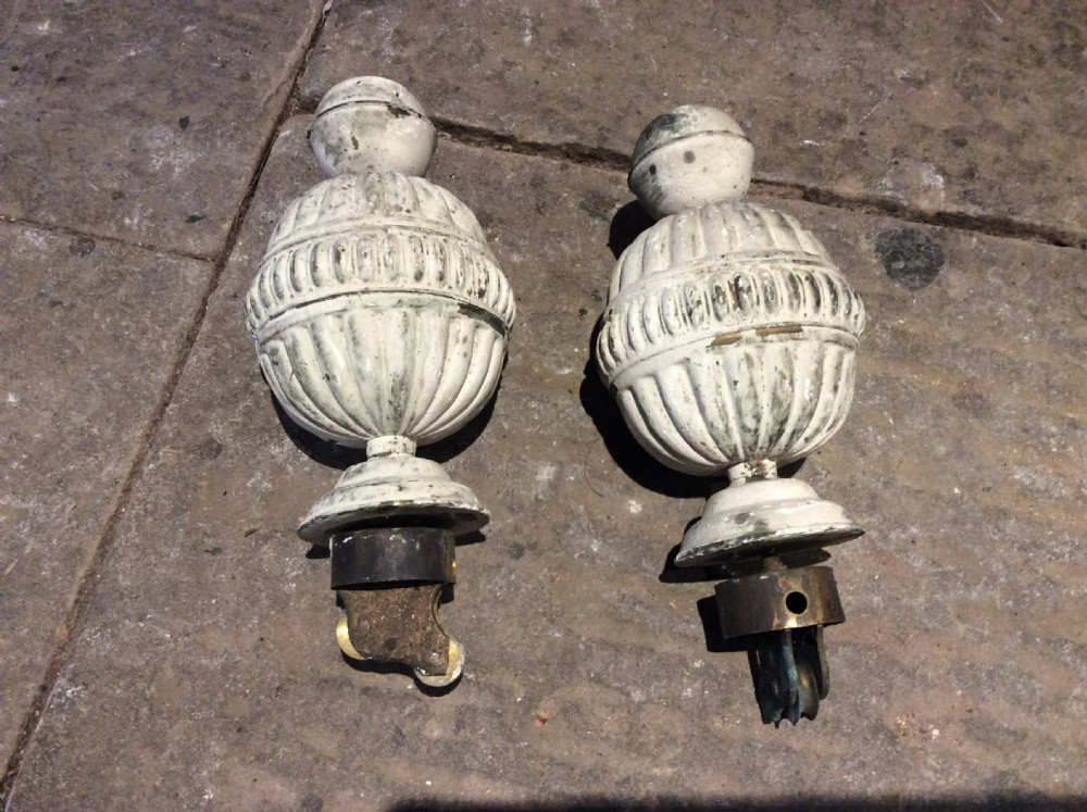19thc pair of painted brass curtain pole finials