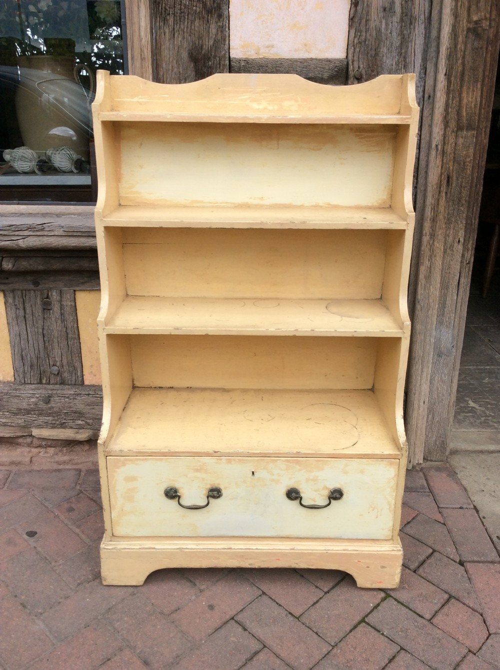 19thc painted pine waterfall set of shelves with one drawer