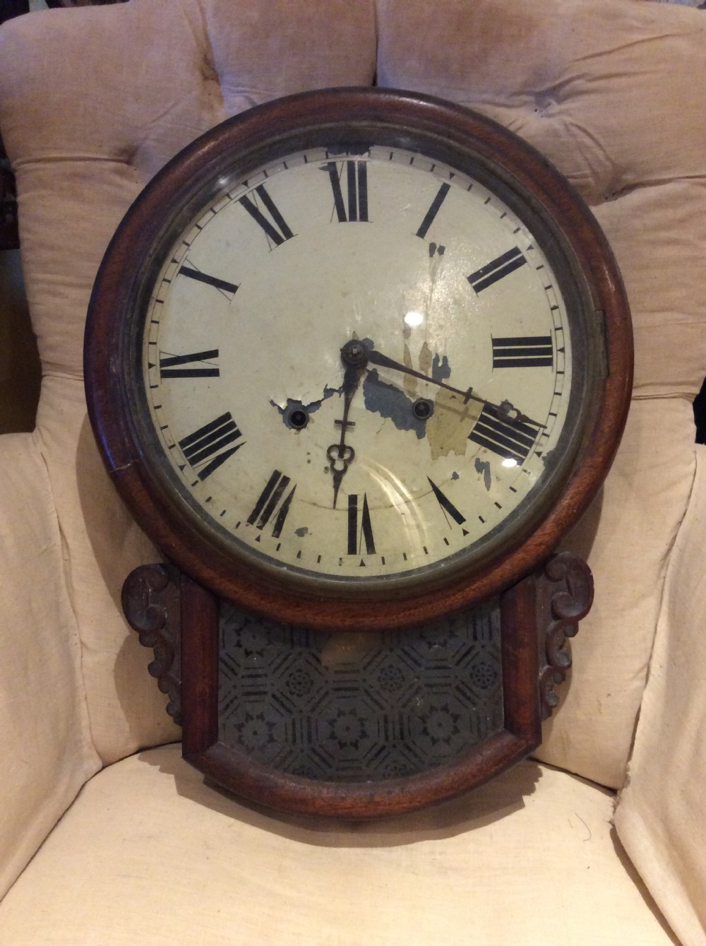 19thc mahogany case wall clock