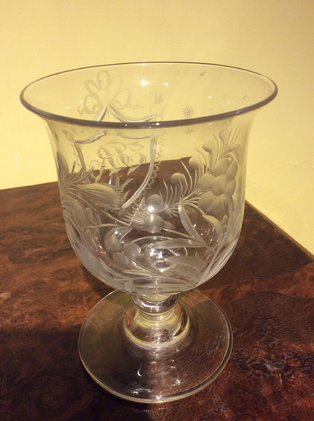 early 19thc copper wheel cut large glass goblet