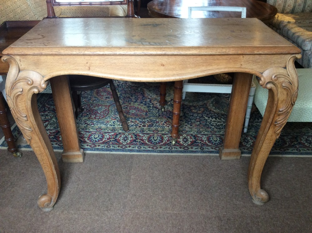 19thc light oak console table on cabriole legs