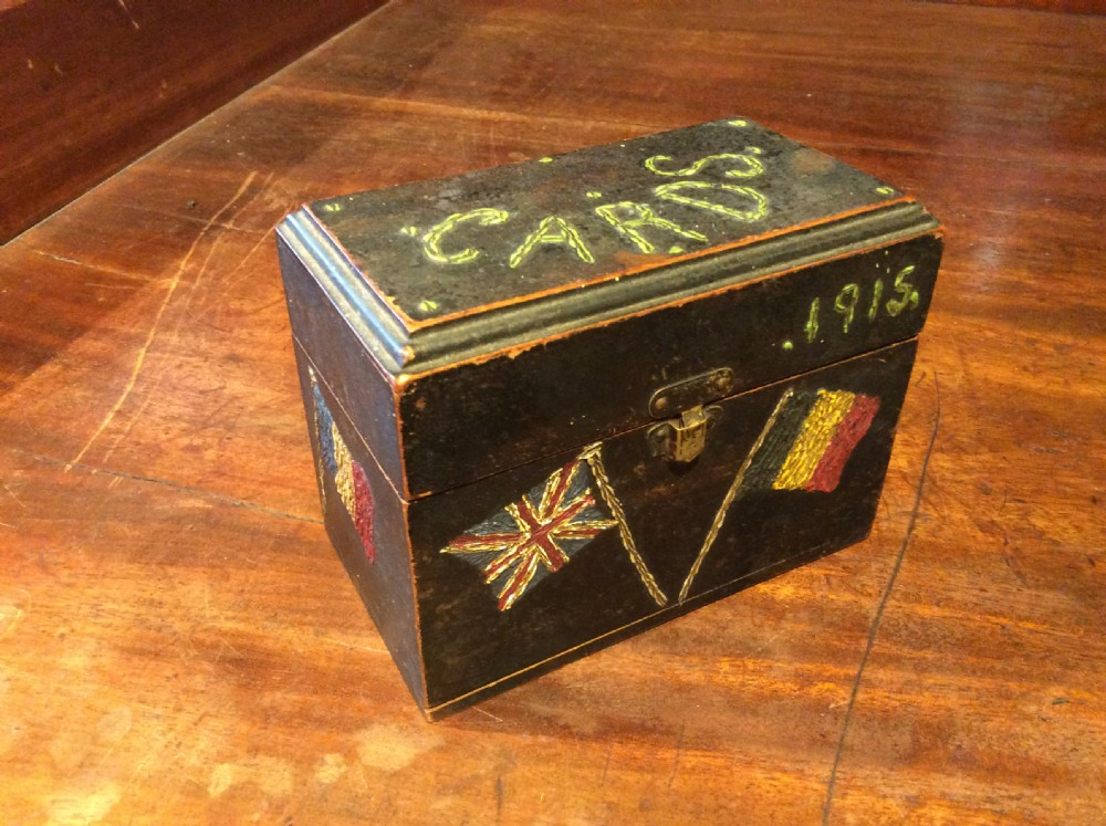 small wooden decorated card box c1915