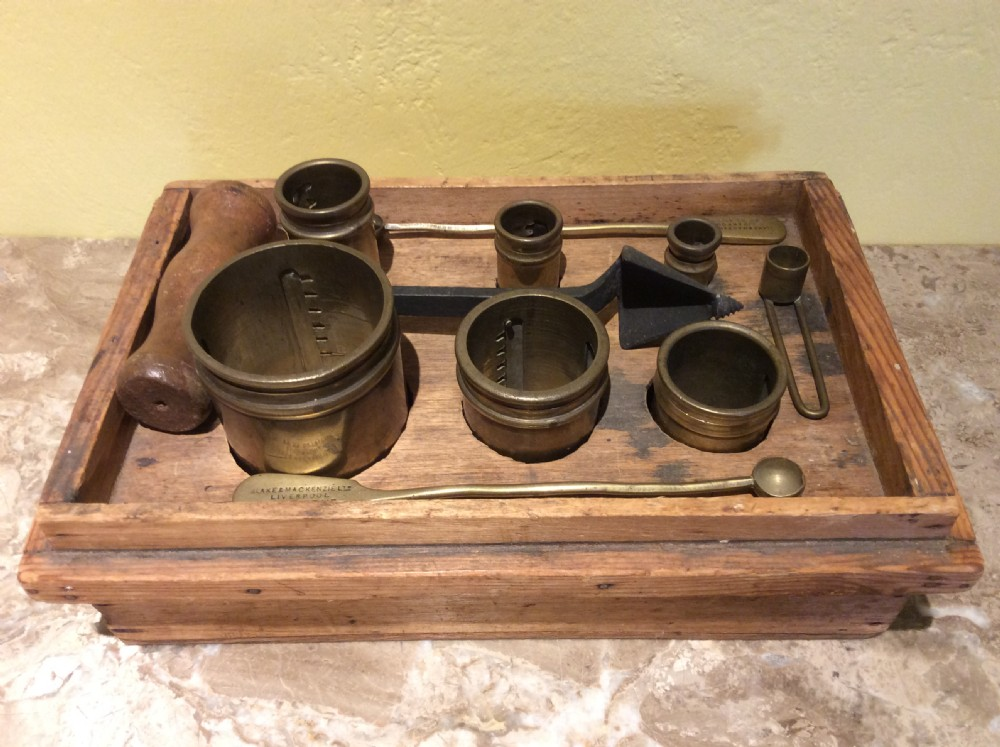 19thc set of brass measures for garden seeds