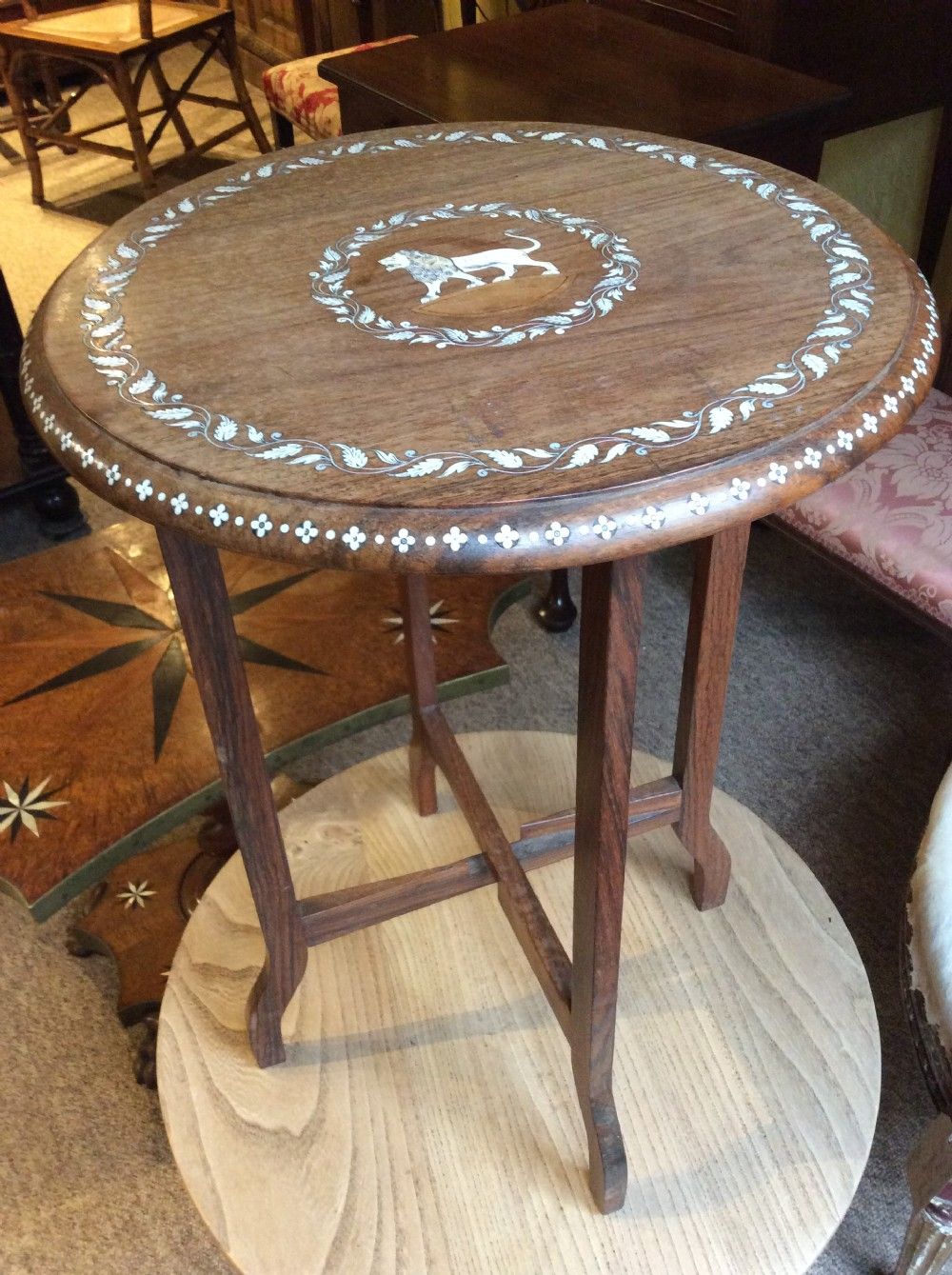20thc small lamp table in teak with bone inlay