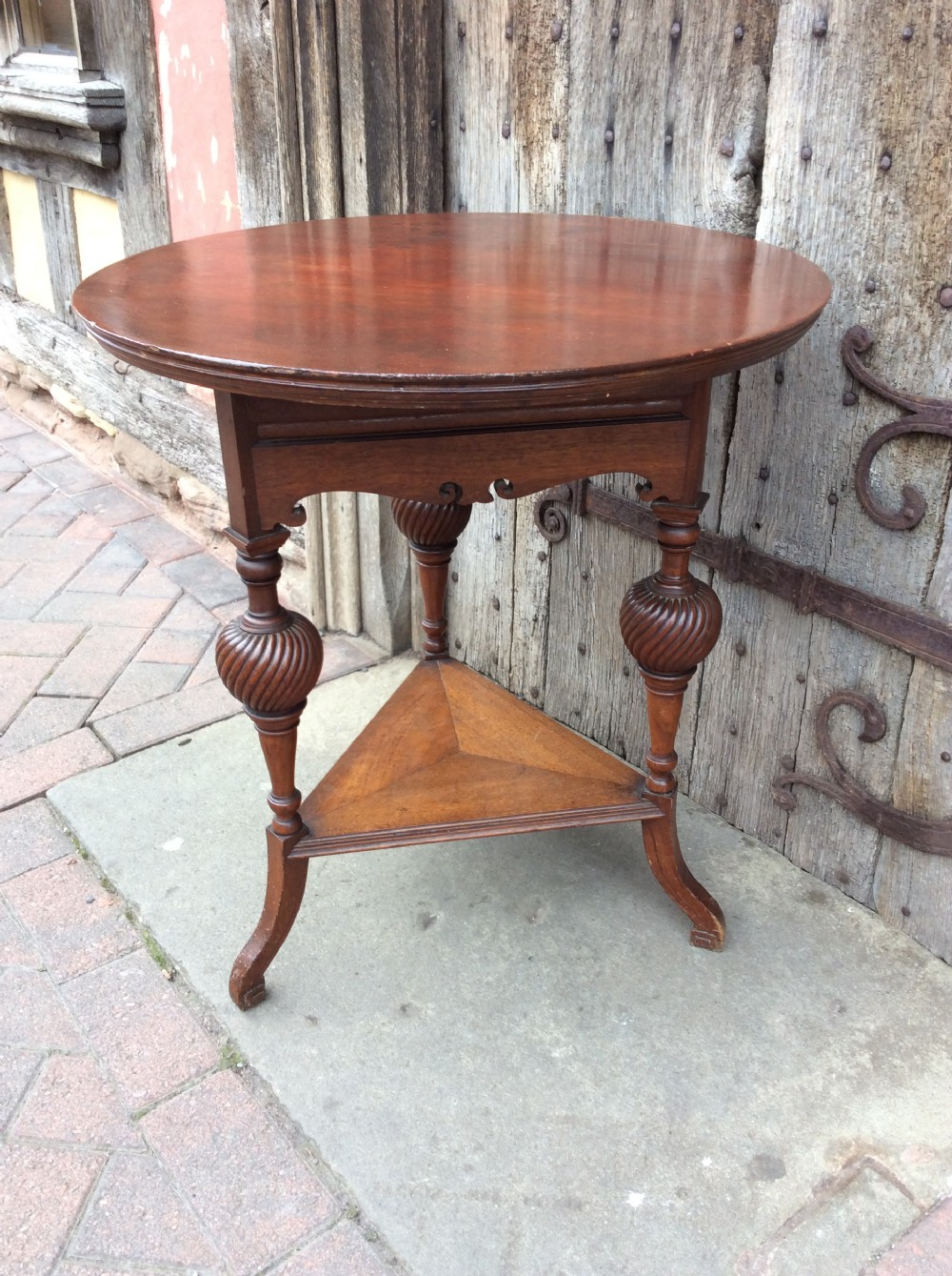 19thc walnut lamp table stamped howard sons