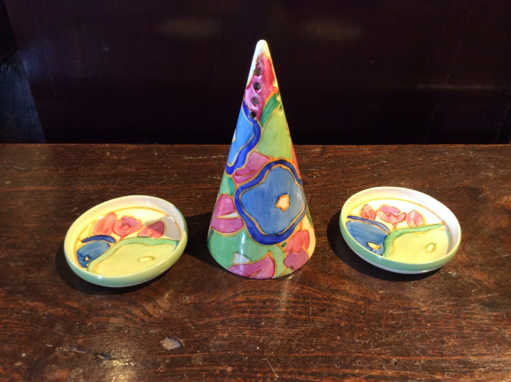 clarice cliff fantastique bizarre blue chintz pattern conical sugar sifter and a pair of pin dishes c1933