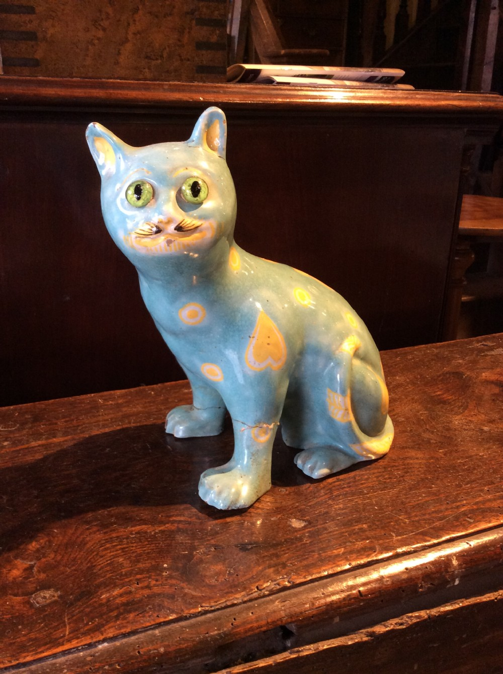 early 20thc ceramic cat signed on left leg