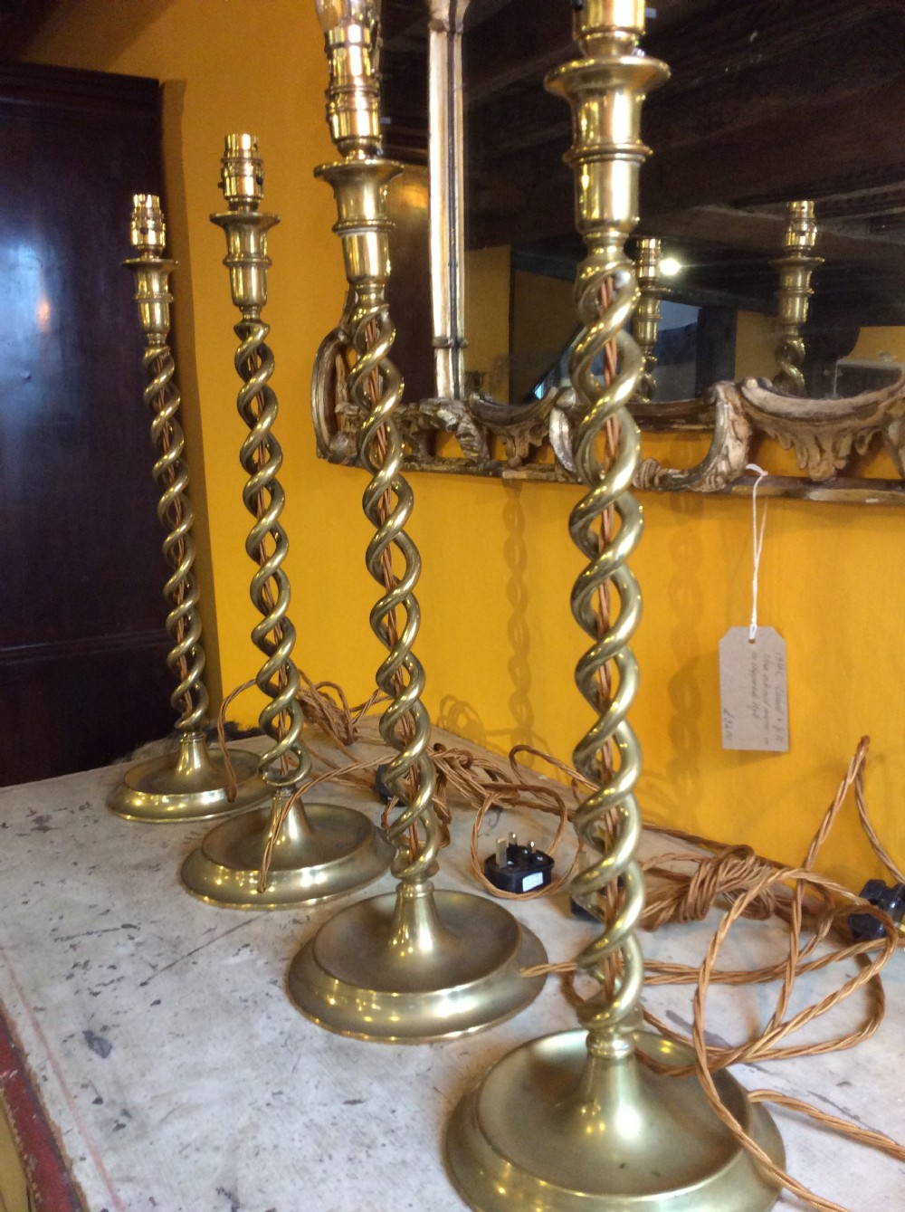 set of 4 19thc brass sticks converted to electric lamps