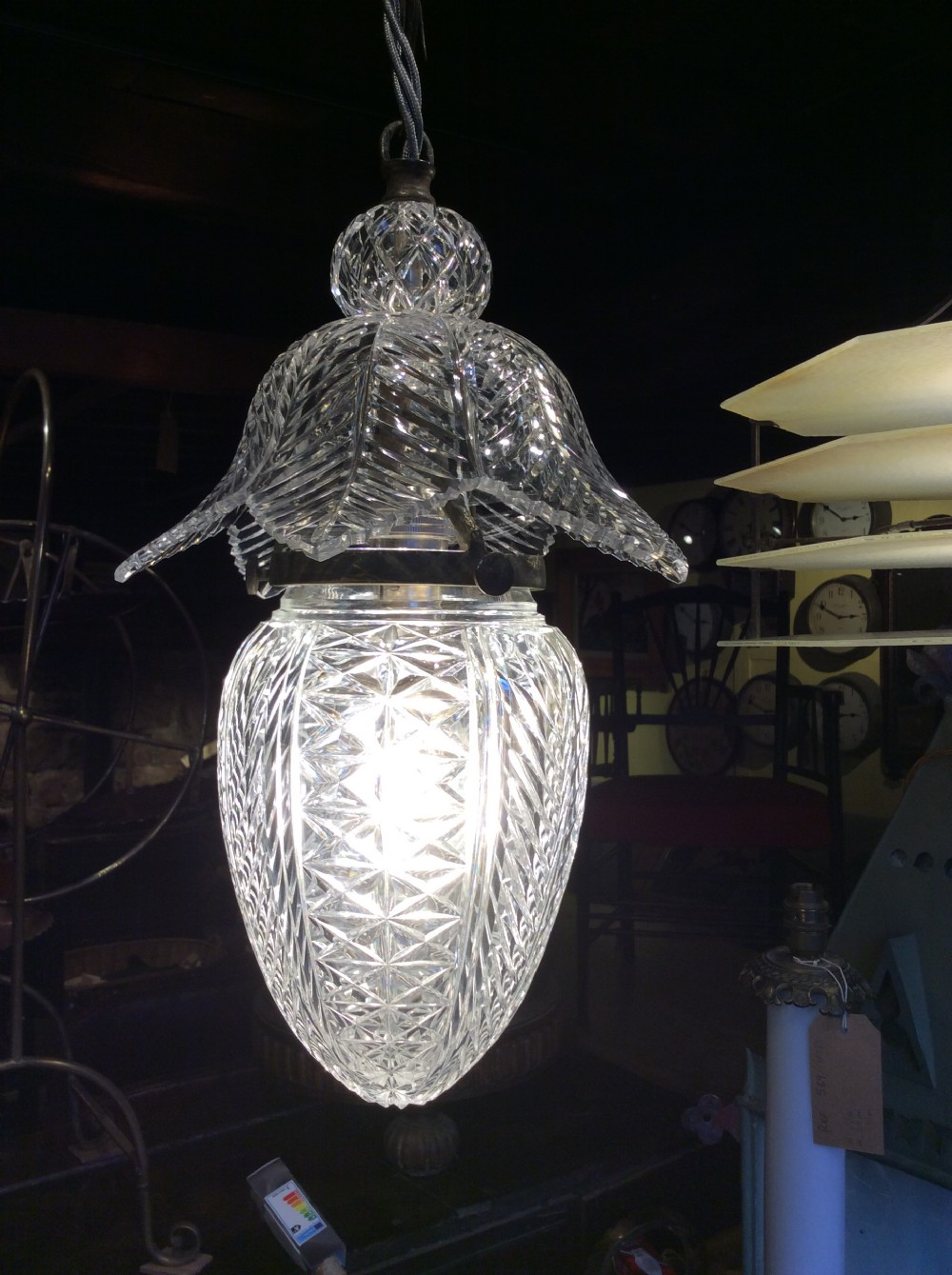19thc cut glass pendant light