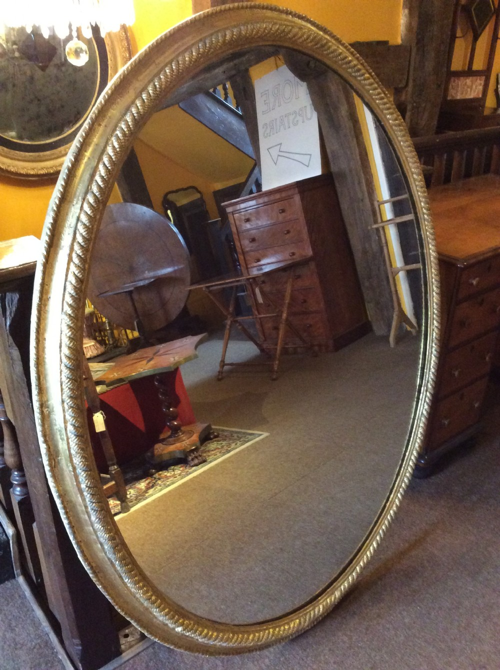 19thc oval mirror with carved rope gilded frame