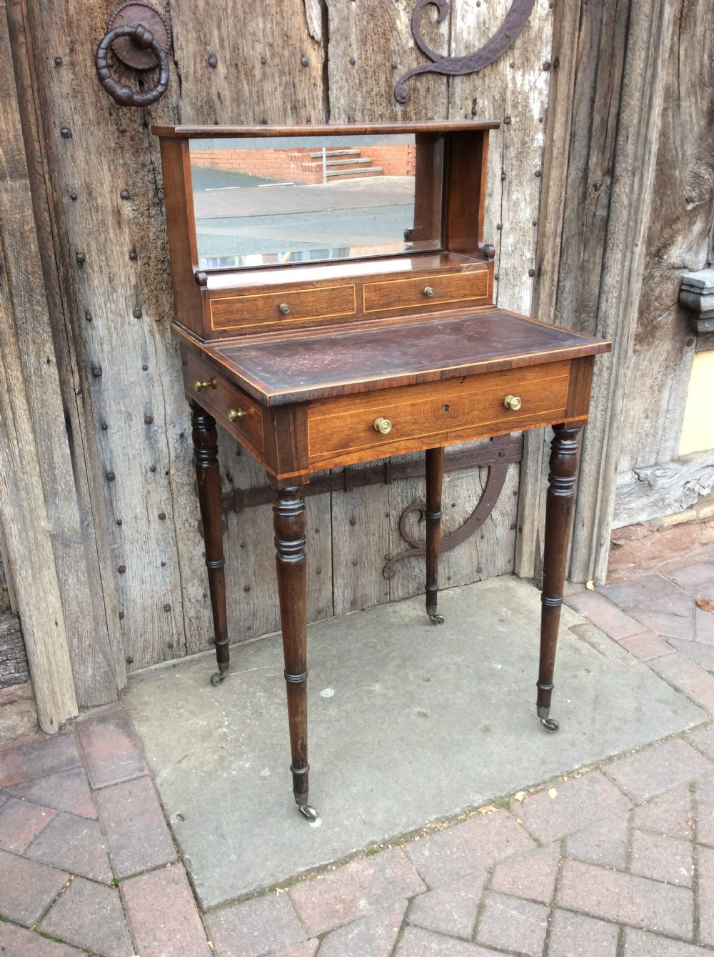 regencyrosewood writing table with fitted drawer and original leather