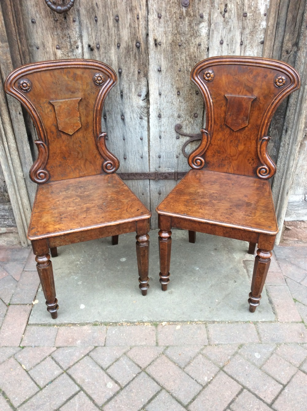19thc pair of pollard oak hall chairs
