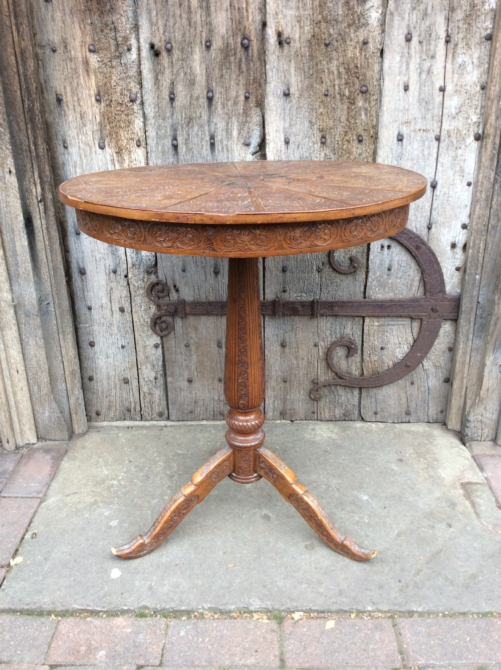 19thc carved sandalwood tripod table