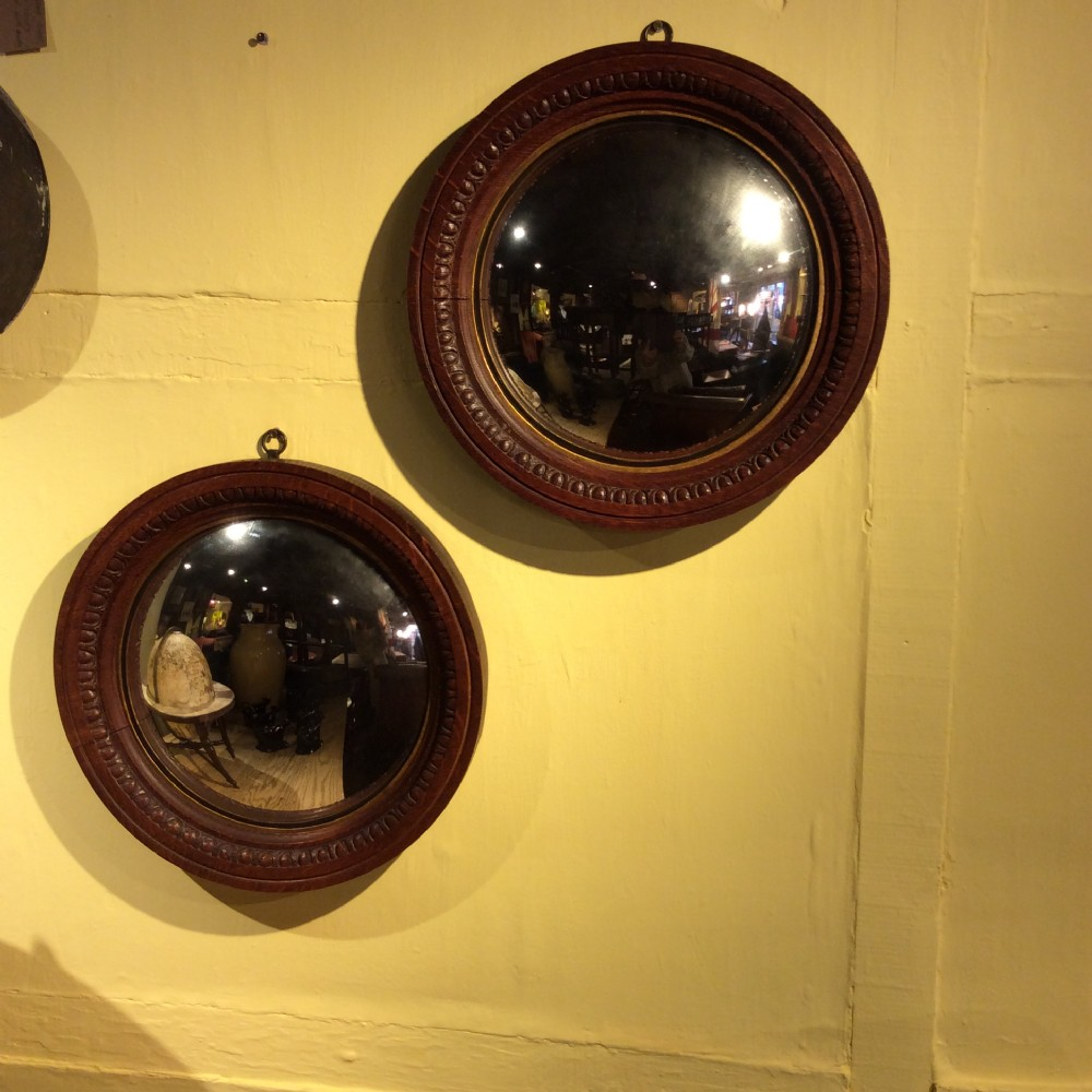 19thc pair of oak convex mirrors