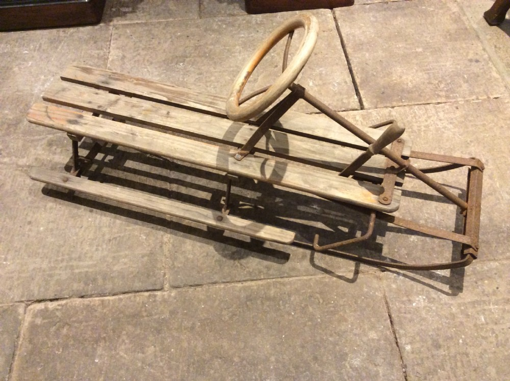 1950s wooden and steel sledge
