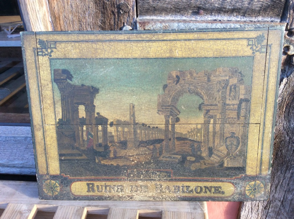 19thc painting on board of ruins of babilone