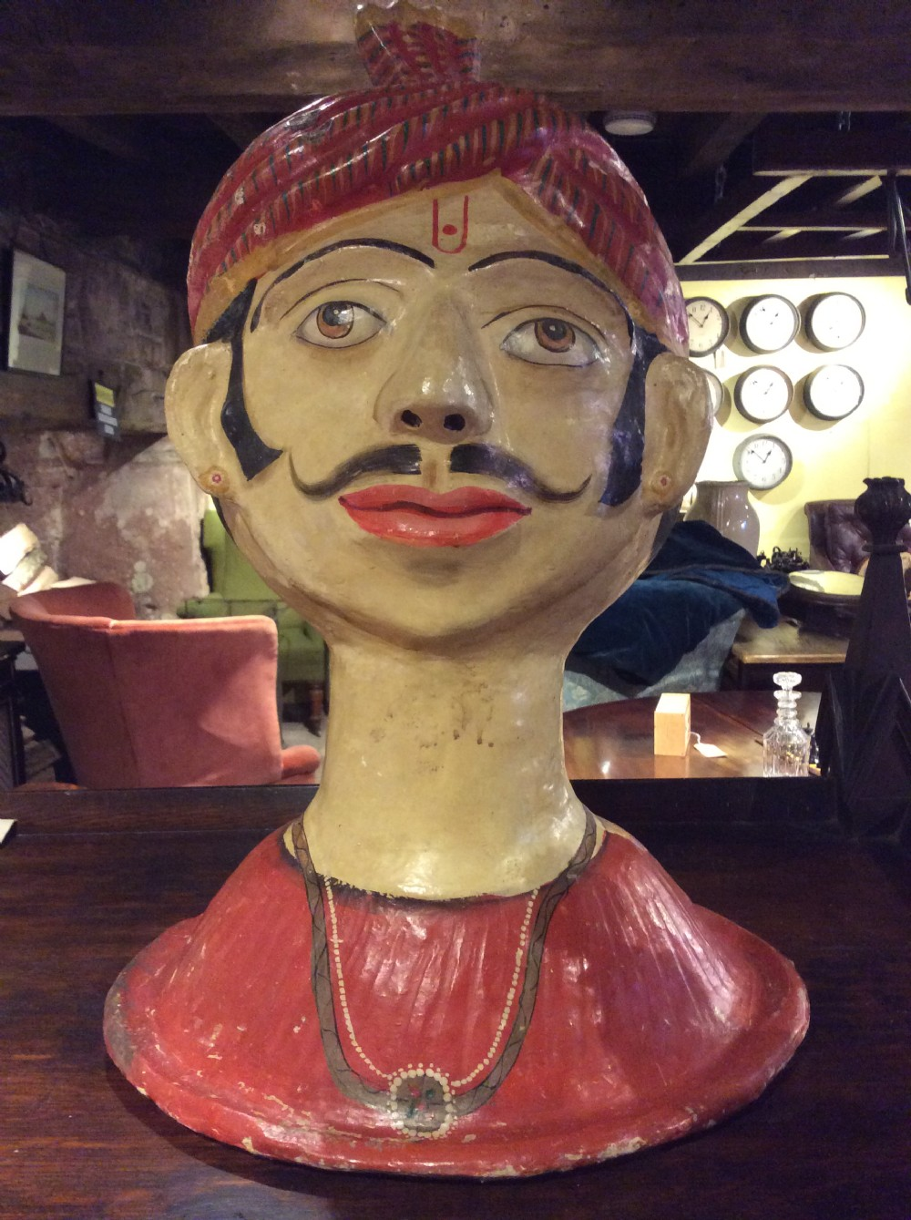 edwardian papier mch bust of indian man