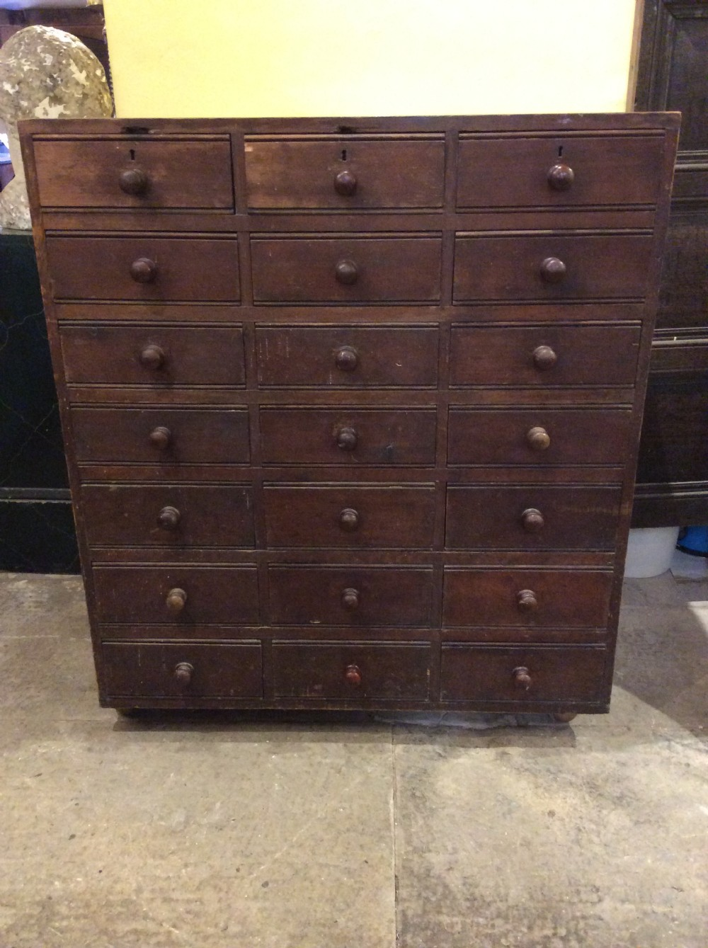 19thc pine chest of 21drawers