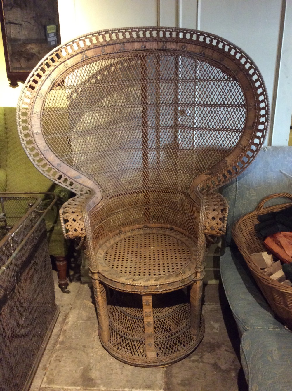 20thc caned peacock chair
