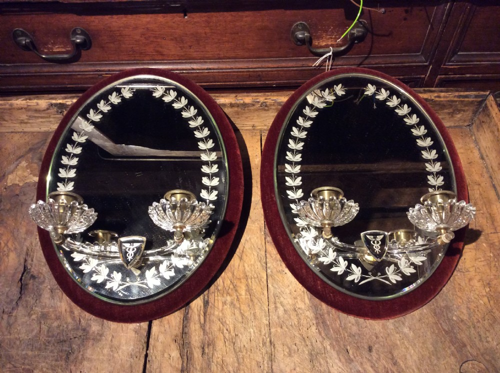 19thc pair of glass sconces