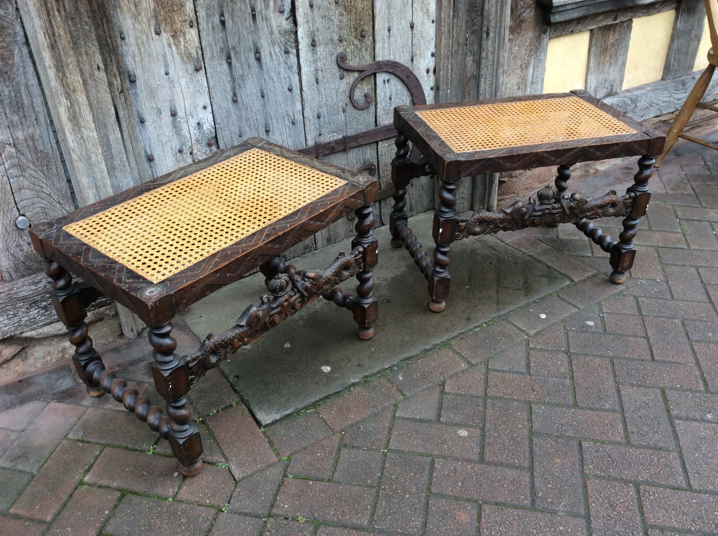 pair of caned stained beech stools
