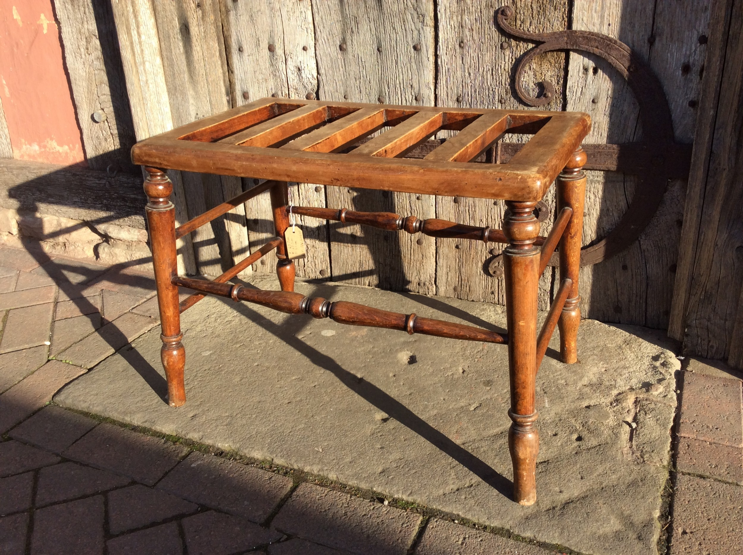 19thc beech luggage rack