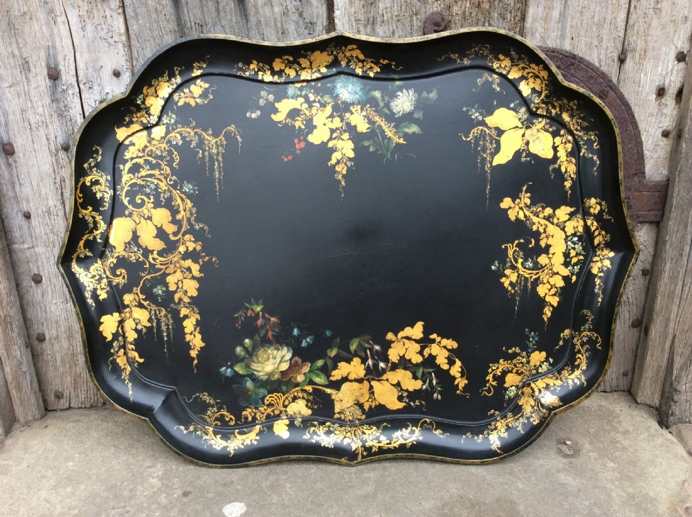 19thc jennens bettridge large papier mch tray