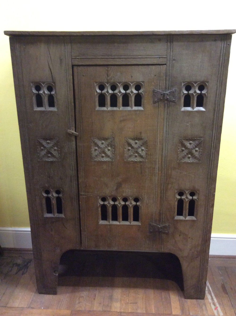 arts craft gothic oak aumbry